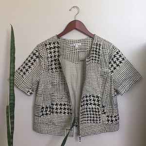 CAbi Graphic Box Zip Up Jacket Top
